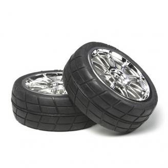 2 Roues Chromées à pneus radiaux 24 mm - Hexa 12 mm - 1/10 1/12 - TAMIYA 53956