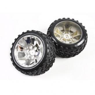 2 roues chromées pour Buggy RC - Hexa 12 mm - 1/10 - T2M T4900/2A