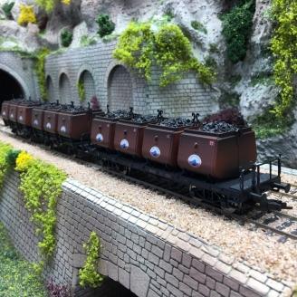 3 wagons bennes transport de charbon NSS Ep II-HO 1/87-FLEISCHMANN 526506