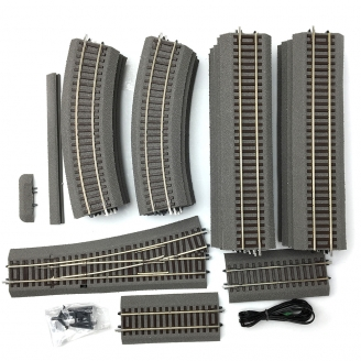 Lot de 31 rails Rocoline ballast souple dont 1 aiguillage -HO-1/87-ROCO ADT10002