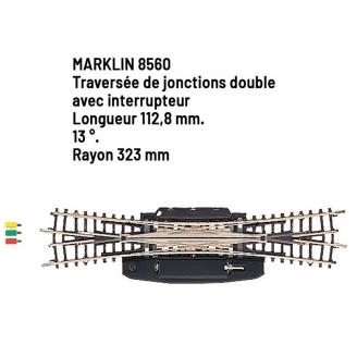 Traversée de jonctions doubles 112.8 mm - Z 1/220 - MARKLIN 8560