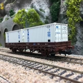 Wagon plat Lgs, conteneurs DELMAS SNCF Ep IV-V - HO 1/87 - JOUEF HJ6175