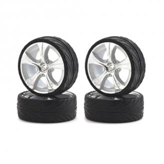4 roues piste chromées Grand diamètre Hexa 12 mm - 1/10 1/12 - CARSON 500900064