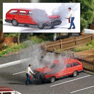 Homme éteignant un feu de voiture-HO 1/87-BUSCH 7881