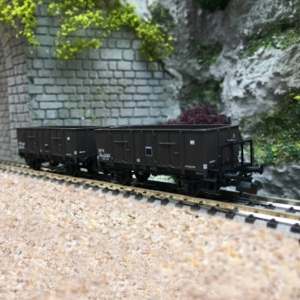 2 Wagons Tombereaux Tôlés OCEM 29 SNCF Ep III - N 1/160 - REE NW049