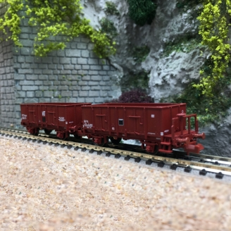 2 Wagons Tombereaux Tôlés OCEM 29 SNCF Ep III - N 1/160 - REE NW050