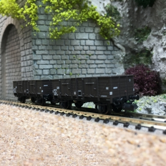 2 Wagons Tombereaux Bois OCEM 29 SNCF Ep III - N 1/160 - REE NW048