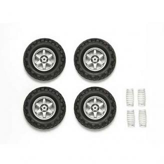 "Set de 4 roues + 4 ressorts ""Cross Country"" Hexa 12 mm - 1/10 1/12 - TAMIYA 54742"