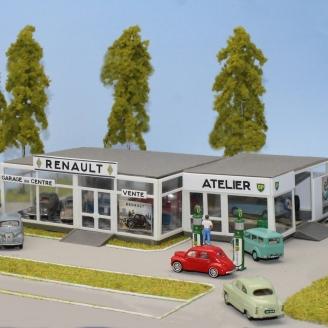 Garage Renault avec Pompes à essence BP + 4CV-HO 1/87-SAI 242