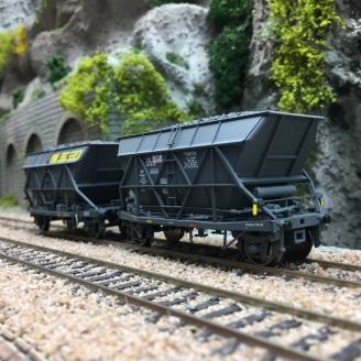 2 Wagons trémie houiller EF 30 SIMOTRA SNCF Ep IV-HO 1/87-JOUEF HJ6198