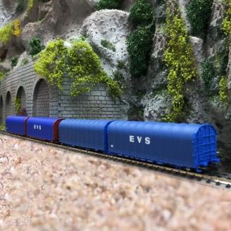 2 Wagons bâché double Lailps EVS-N-1/160-MFTRAIN 33069/70
