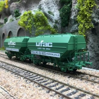 """2 Wagons céréalier UFAC """"Moulins du Bois Ep IV-HO 1/87-REE WB630"""