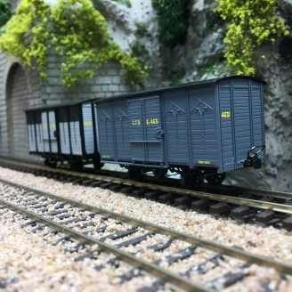 2 Wagons Couverts CFD Gris / Gris-Noir toit rond-HOm 1/87-REE VM013