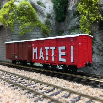 2 Wagons Couverts CFC Rouge UIC  / MATTEI-HOm 1/87-REE VM012