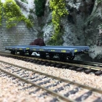 2 wagons plats CFD Gris Foncé-HOm 1/87-REE VM019