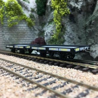 2 wagons plats CFD Gris / Noir-HOm 1/87-REE VM018