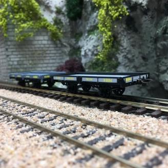 2 wagons plats CFD Gris Foncé / Gris-Noir-HOm 1/87-REE VM020