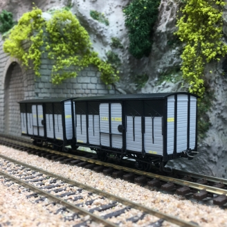 2 Wagons Couverts CFD Gris-Noir toit rond-HOm 1/87-REE VM009