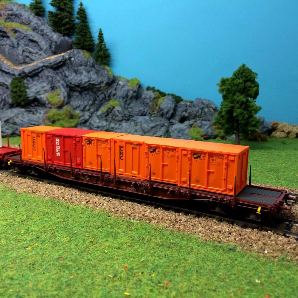 Wagon plat à rancher avec conteneurs LS Modèles -HO 1/87