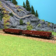 2 wagons bas à rebords bas occasion-HO-1/87-Roco W111 Réf. : W111